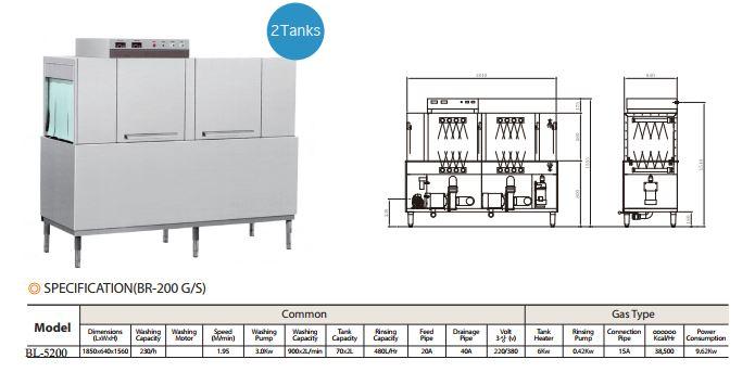 Máy rửa chén băng tải 1 khoang rửa BL5200